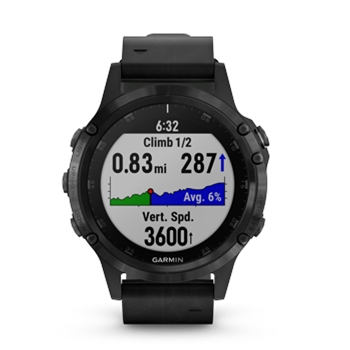 Garmin fenix 5 Plus Sapphire GPS Watch with Black Leather Band